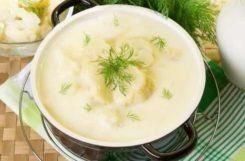 Диетический суп пюре из цветной капусты с Чеддером и зеленью